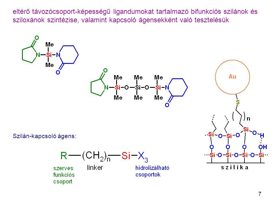 7 eltérő távozócsoport-képességű ligandumokat tartalmazó bifunkciós szilánok és sziloxánok szintézise, valamint kapcsoló ágensekként való tesztelésük Szilán-kapcsoló ágens: