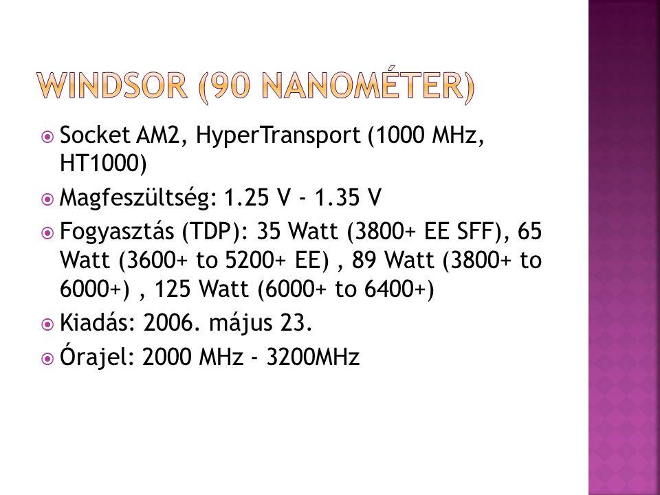  Socket AM2, HyperTransport (1000 MHz, HT1000)  Magfeszültség: 1.25 V - 1.35 V  Fogyasztás (TDP): 35 Watt (3800+ EE SFF), 65 Watt (3600+ to 5200+ E