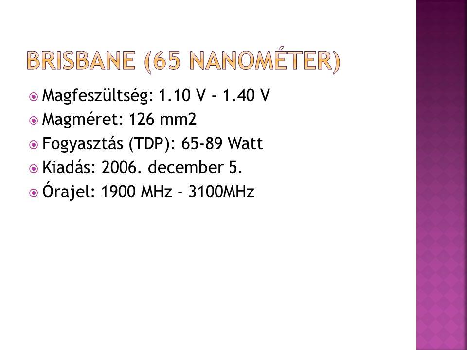  Magfeszültség: 1.10 V - 1.40 V  Magméret: 126 mm2  Fogyasztás (TDP): 65-89 Watt  Kiadás: 2006.
