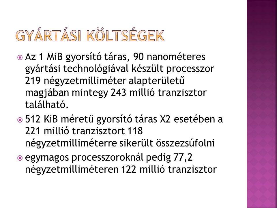  Az 1 MiB gyorsító táras, 90 nanométeres gyártási technológiával készült processzor 219 négyzetmilliméter alapterületű magjában mintegy 243 millió tr