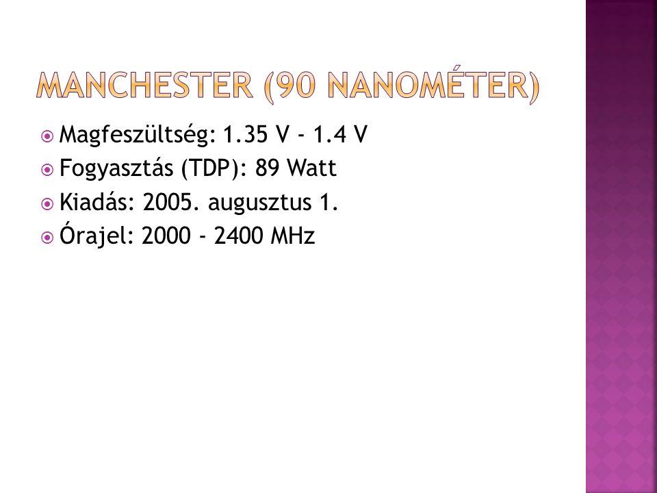  Magfeszültség: 1.35 V - 1.4 V  Fogyasztás (TDP): 89 Watt  Kiadás: 2005. augusztus 1.  Órajel: 2000 - 2400 MHz