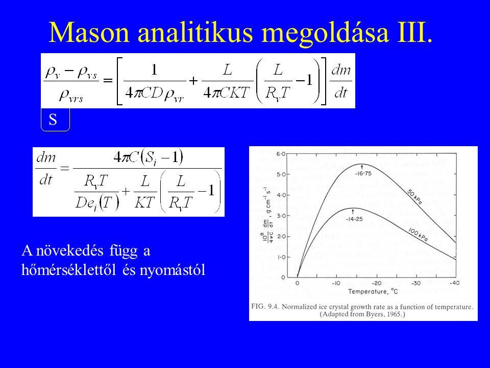 Mason analitikus megoldása III. S A növekedés függ a hőmérséklettől és nyomástól