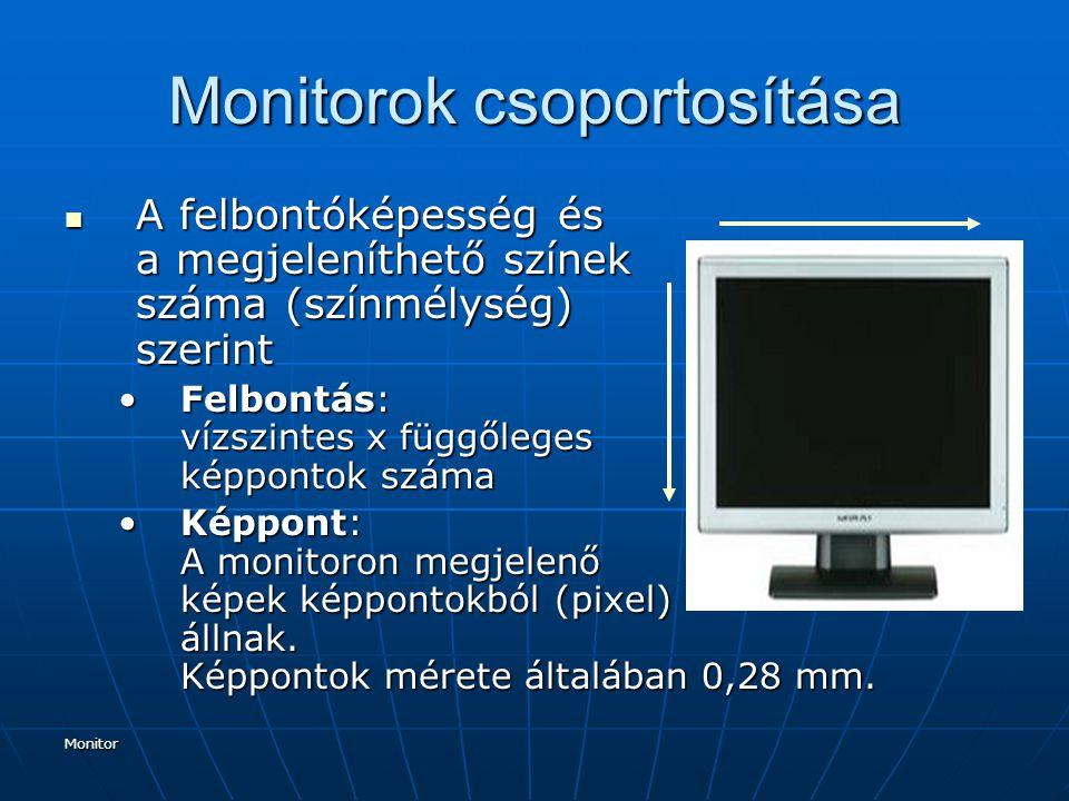 Monitor Monitorok csoportosítása A felbontóképesség és a megjeleníthető színek száma (színmélység) szerint A felbontóképesség és a megjeleníthető szín