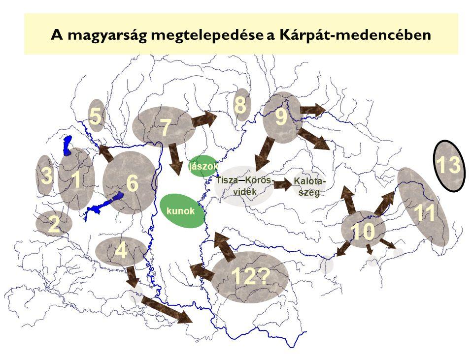 A magyarság megtelepedése a Kárpát-medencében 7 5 8 9 4 6 1 3 2 12.