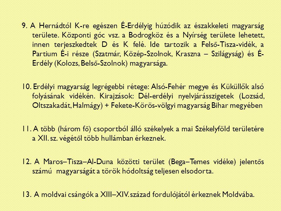 1) Dél-Baranya és környéke 2) Őrség és az ausztriai Őrvidék 3) Szenc környéke (Pozsony m.) 4) Hernád vidéke (Abaúj m.) 5) Székelyföld 6) Dél-erdélyi szigetek 7) Bihari székelyek (Telegd) 8) Bega–Temes környéke 1 2 3 4 5 6 7 8 ö ö ö ö ö ö ë ë ë Korai székely szállásterületek a nyelvjárások tükrében (Benkő Loránd 2005)
