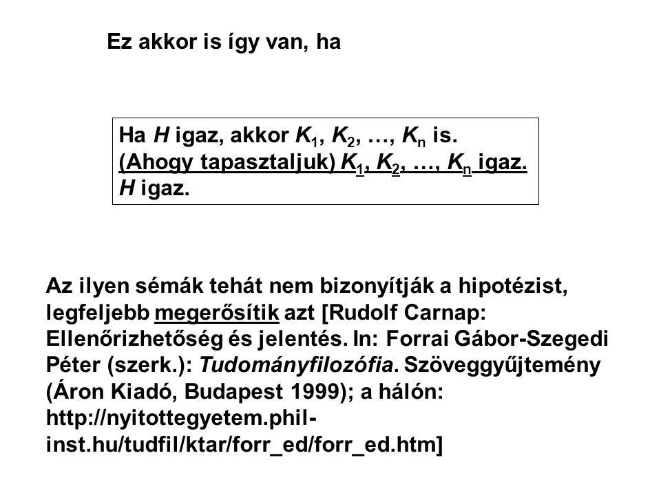 Ez akkor is így van, ha Ha H igaz, akkor K 1, K 2, …, K n is. (Ahogy tapasztaljuk) K 1, K 2, …, K n igaz. H igaz. Az ilyen sémák tehát nem bizonyítják