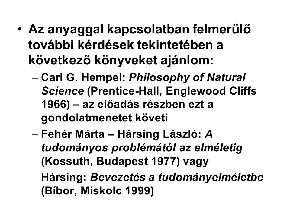 Az anyaggal kapcsolatban felmerülő további kérdések tekintetében a következő könyveket ajánlom: –Carl G. Hempel: Philosophy of Natural Science (Prenti