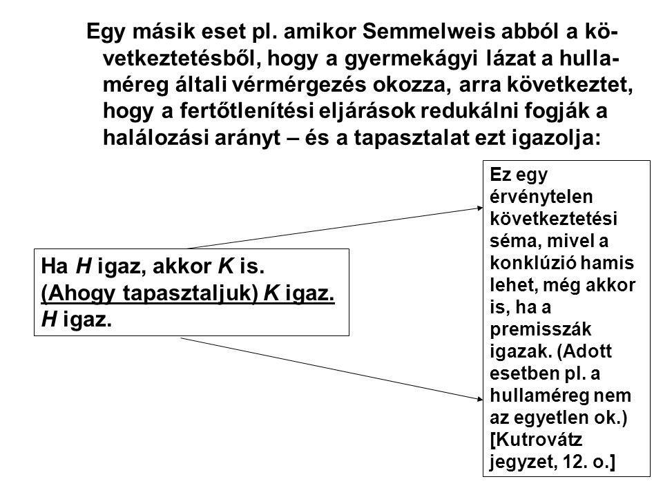 Egy másik eset pl. amikor Semmelweis abból a kö- vetkeztetésből, hogy a gyermekágyi lázat a hulla- méreg általi vérmérgezés okozza, arra következtet,