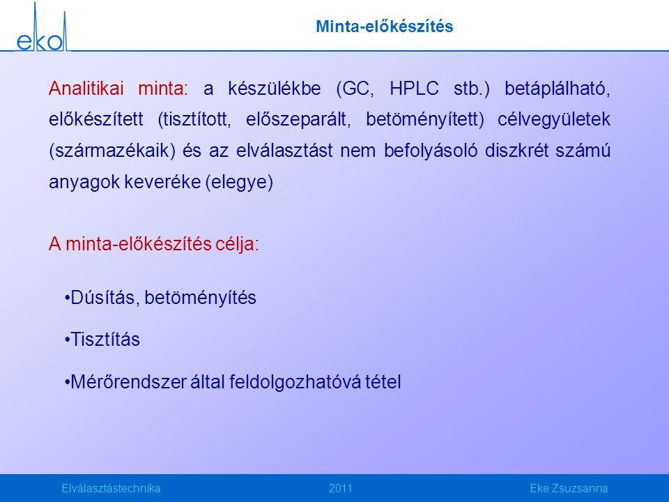 Elválasztástechnika2011Eke Zsuzsanna Minta-előkészítés Analitikai minta: a készülékbe (GC, HPLC stb.) betáplálható, előkészített (tisztított, előszeparált, betöményített) célvegyületek (származékaik) és az elválasztást nem befolyásoló diszkrét számú anyagok keveréke (elegye) A minta-előkészítés célja: Dúsítás, betöményítés Tisztítás Mérőrendszer által feldolgozhatóvá tétel