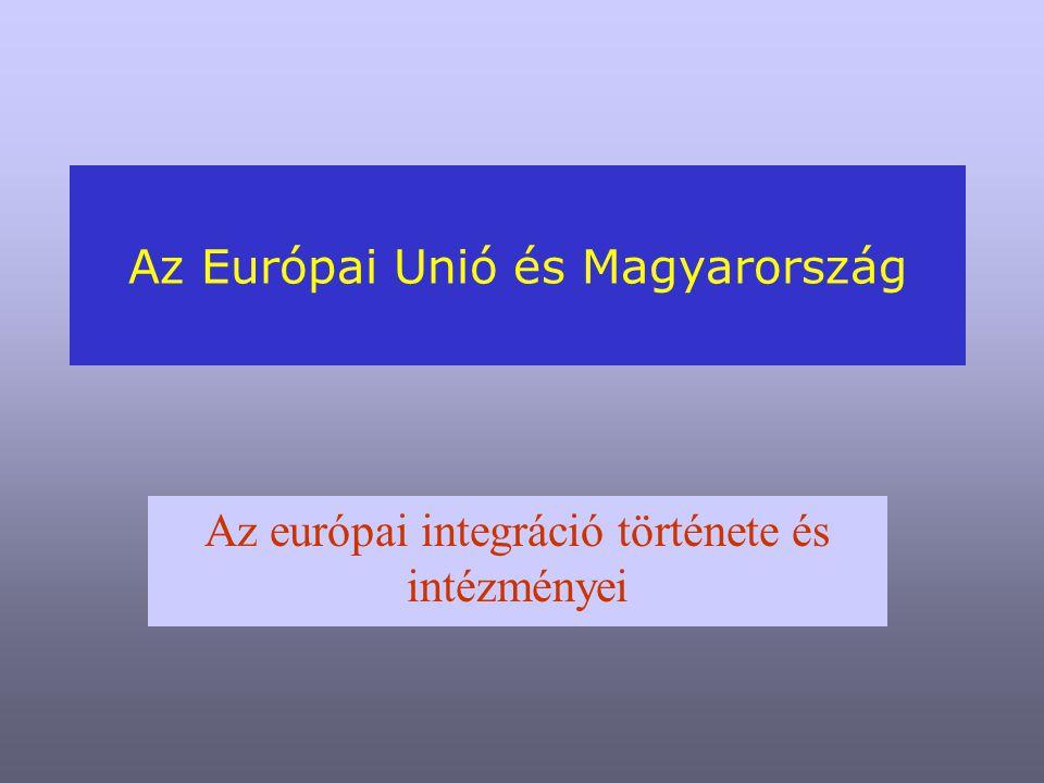 Az Európai Unió és Magyarország Az európai integráció története és intézményei