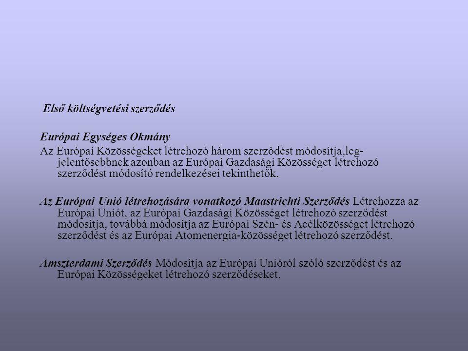 Első költségvetési szerződés Európai Egységes Okmány Az Európai Közösségeket létrehozó három szerződést módosítja,leg- jelentősebbnek azonban az Európ