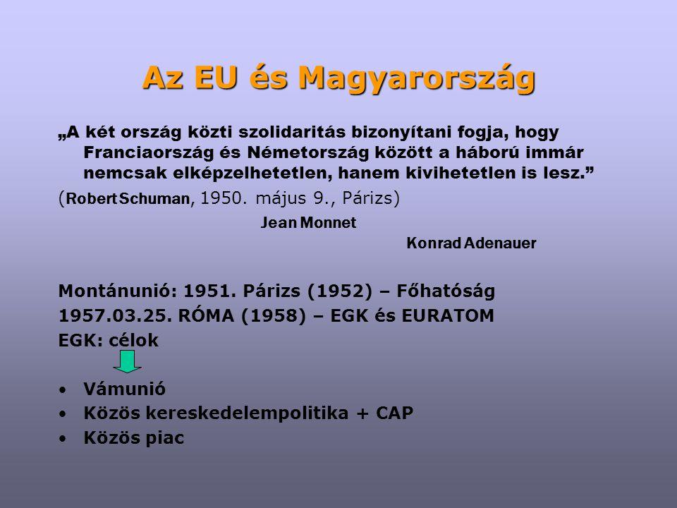"""Az EU és Magyarország 1961-1969: a közösségek továbbépítése Párhuzamosan válság (De Gaulle) 1965: Egyesülési Szerződés (1967) 1969-től integráció: reformok, """"mélyítés , bővítés 1972: Dánia, Nagy-Britannia, Írország 1975: Európai Tanács 1979: közvetlen Európai Parlamenti választások 1981: Görögország 1986: Egységes Európai Okmány (1987) – Európai Közösségek 1987: Spanyolország, Portugália 1991: Maastrichti Szerződés (1993) – Európai Unió 1995: Ausztria, Finnország, Svédország 1997: Amszterdami Szerződés (1999) 2000: Nizzai Szerződés (2003)"""