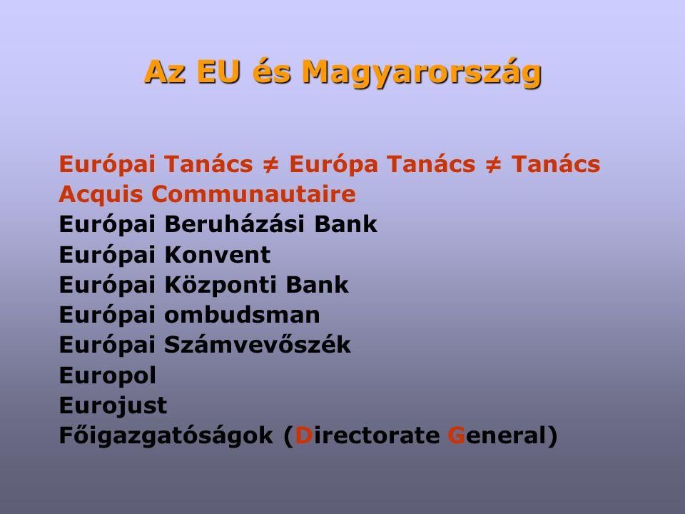 """Az EU és Magyarország Az Európai Unió Tanácsa (Miniszterek Tanácsa) Az elnökség: félévente más tagország, együtt az előzővel és a következővel (""""trojka ) Feladatai: Minden miniszteri tanács előkészítése Az Európai Tanács üléseinek előkészítése – félévenként két ülés (egy hivatalos, egy informális) A jogszabályalkotás koordinálása: egyeztetés a kormányokkal együttműködés a Bizottsággal kooperáció a Parlamenttel COREPER, komitológia"""
