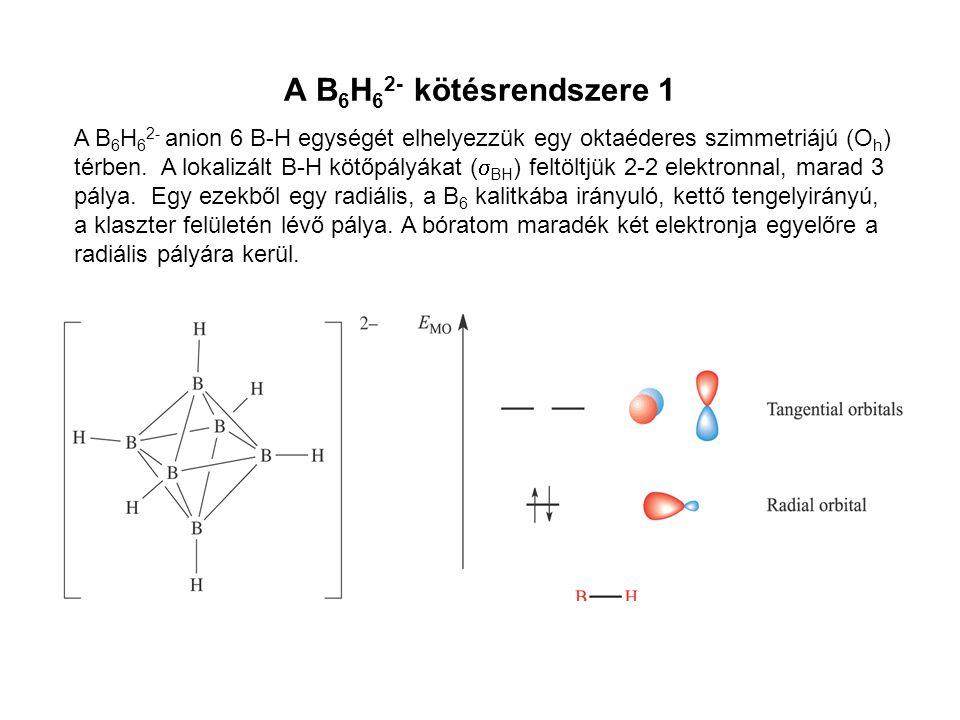 A B 6 H 6 2- kötésrendszere 1 A B 6 H 6 2- anion 6 B-H egységét elhelyezzük egy oktaéderes szimmetriájú (O h ) térben. A lokalizált B-H kötőpályákat (