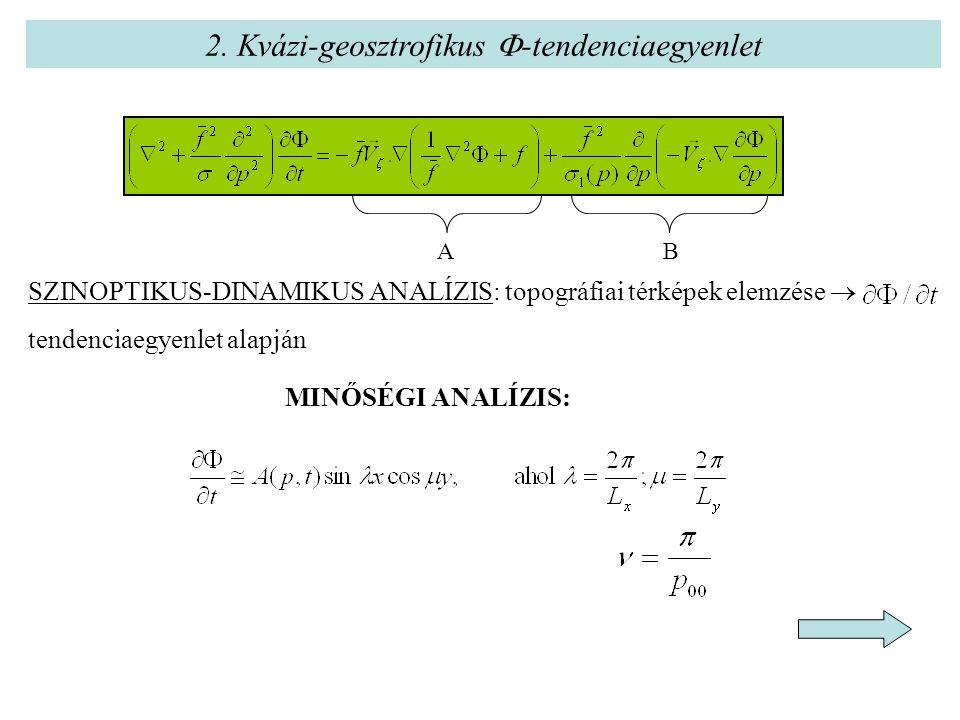 2. Kvázi-geosztrofikus  -tendenciaegyenlet SZINOPTIKUS-DINAMIKUS ANALÍZIS: topográfiai térképek elemzése  tendenciaegyenlet alapján MINŐSÉGI ANALÍZI