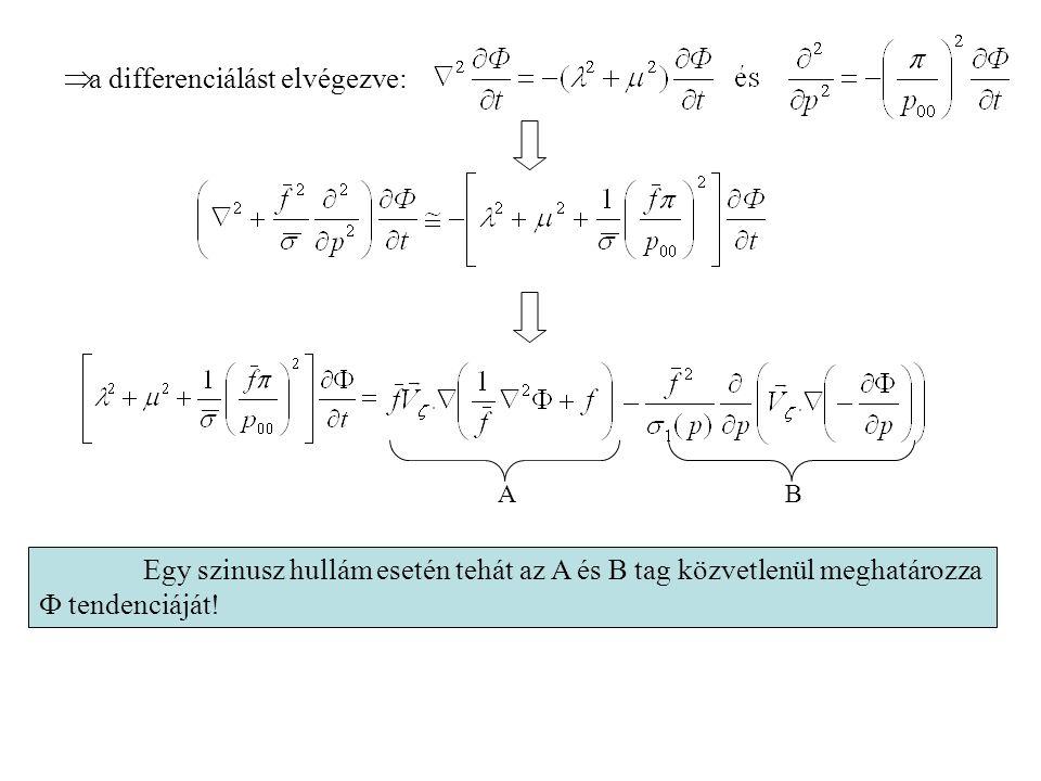  a differenciálást elvégezve: Egy szinusz hullám esetén tehát az A és B tag közvetlenül meghatározza  tendenciáját! AB