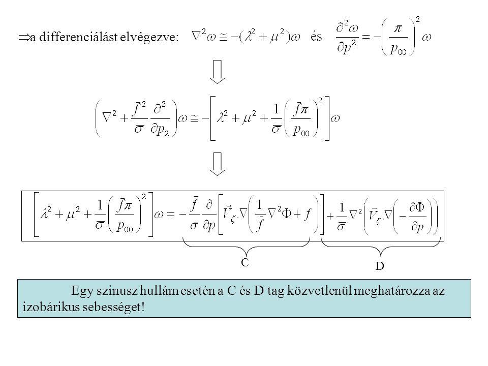 Egy szinusz hullám esetén a C és D tag közvetlenül meghatározza az izobárikus sebességet! C D  a differenciálást elvégezve: