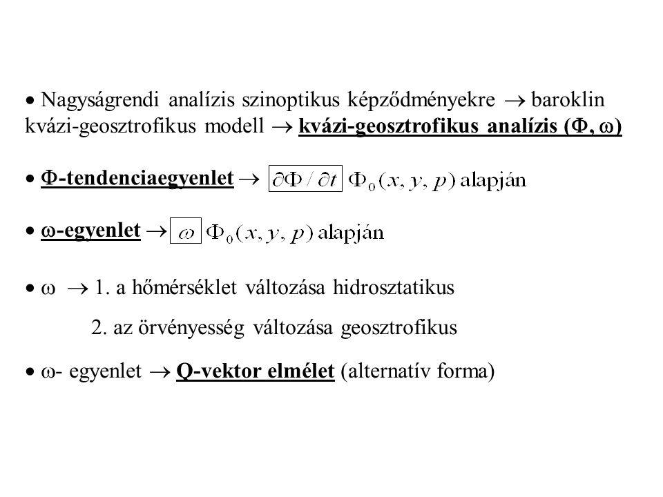  Nagyságrendi analízis szinoptikus képződményekre  baroklin kvázi-geosztrofikus modell  kvázi-geosztrofikus analízis ( ,  )   -tendenciaegyenle