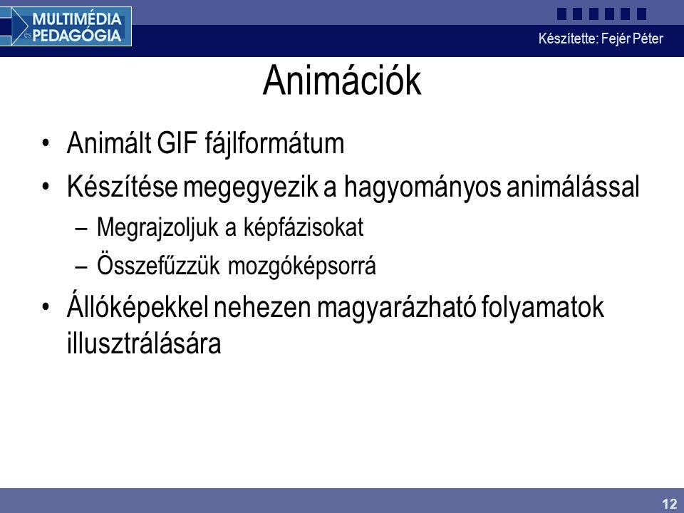 Készítette: Fejér Péter 12 Animációk Animált GIF fájlformátum Készítése megegyezik a hagyományos animálással –Megrajzoljuk a képfázisokat –Összefűzzük mozgóképsorrá Állóképekkel nehezen magyarázható folyamatok illusztrálására