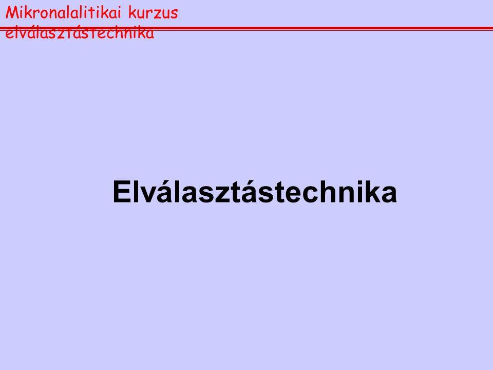 Elválasztástechnika Mikronalalitikai kurzus elválasztástechnika