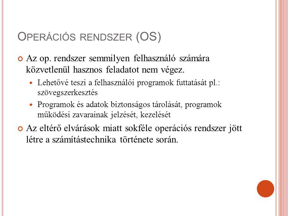 O PERÁCIÓS RENDSZER (OS) Az op. rendszer semmilyen felhasználó számára közvetlenül hasznos feladatot nem végez. Lehetővé teszi a felhasználói programo