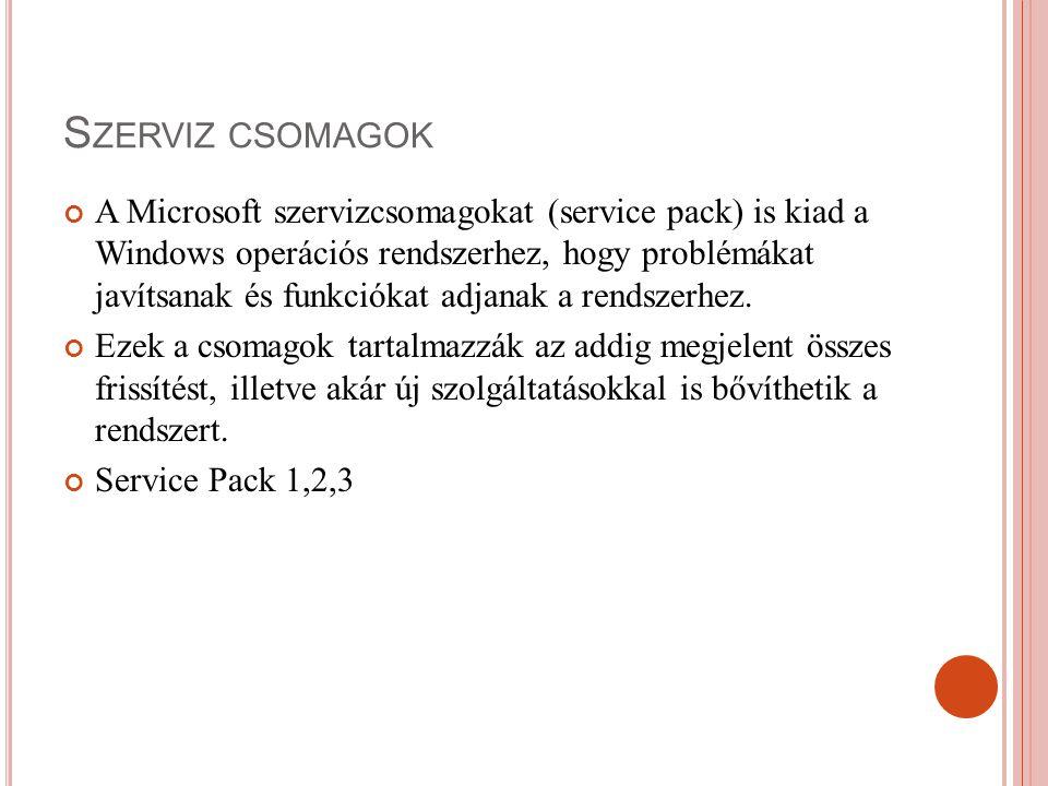 S ZERVIZ CSOMAGOK A Microsoft szervizcsomagokat (service pack) is kiad a Windows operációs rendszerhez, hogy problémákat javítsanak és funkciókat adja