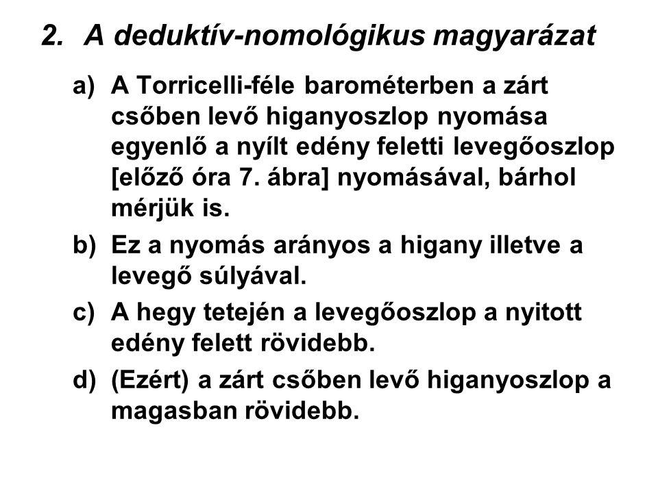 2.A deduktív-nomológikus magyarázat a)A Torricelli-féle barométerben a zárt csőben levő higanyoszlop nyomása egyenlő a nyílt edény feletti levegőoszlo
