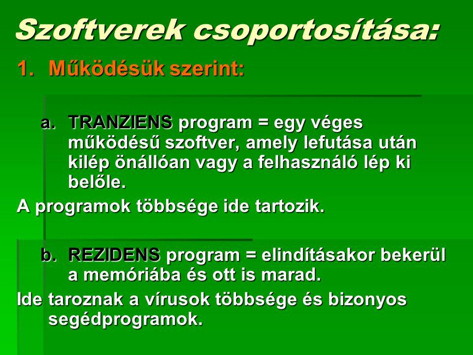Szoftverek csoportosítása: 1.Működésük szerint: a.TRANZIENS program = egy véges működésű szoftver, amely lefutása után kilép önállóan vagy a felhaszná