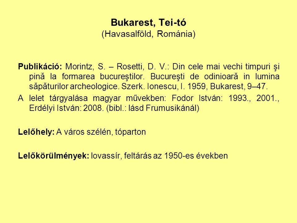 Bukarest, Tei-tó (Havasalföld, Románia) Publikáció: Morintz, S. – Rosetti, D. V.: Din cele mai vechi timpuri şi pinǎ la formarea bucureştilor. Bucureş