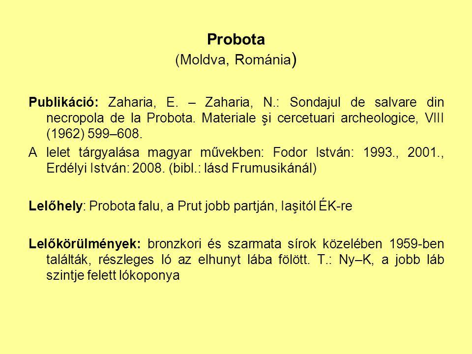 Probota (Moldva, Románia ) Publikáció: Zaharia, E. – Zaharia, N.: Sondajul de salvare din necropola de la Probota. Materiale şi cercetuari archeologic