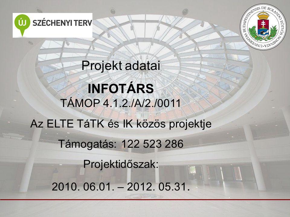 Projekt adatai INFOTÁRS TÁMOP 4.1.2./A/2./0011 Az ELTE TáTK és IK közös projektje Támogatás: 122 523 286 Projektidőszak: 2010. 06.01. – 2012. 05.31.