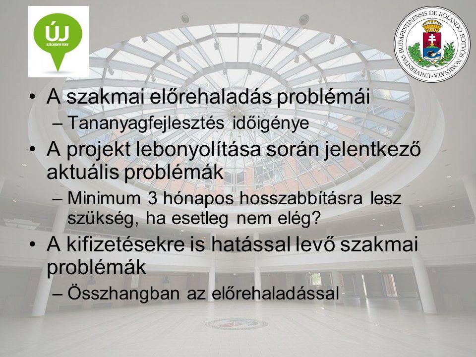 A szakmai előrehaladás problémái –Tananyagfejlesztés időigénye A projekt lebonyolítása során jelentkező aktuális problémák –Minimum 3 hónapos hosszabbításra lesz szükség, ha esetleg nem elég.