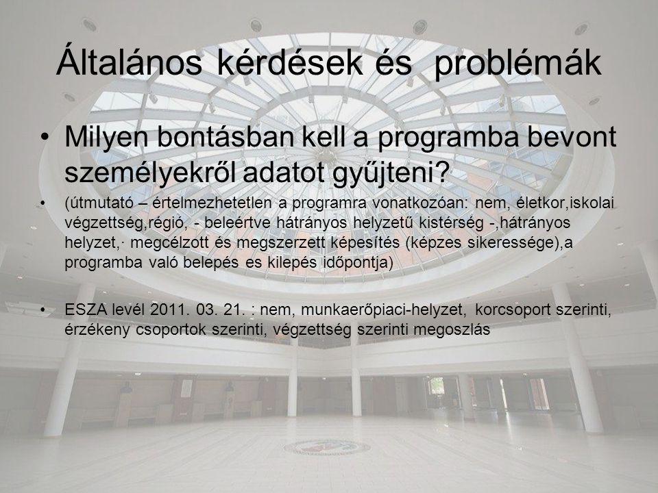 Általános kérdések és problémák Milyen bontásban kell a programba bevont személyekről adatot gyűjteni? (útmutató – értelmezhetetlen a programra vonatk
