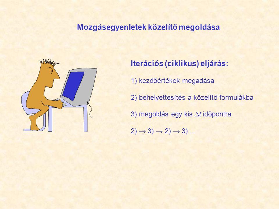 Iterációs (ciklikus) eljárás: 1) kezdőértékek megadása 2) behelyettesítés a közelítő formulákba 3) megoldás egy kis  t időpontra 2)  3)  2)  3)...