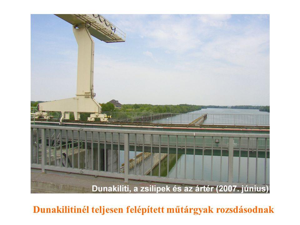 Dunakilitinél teljesen felépített műtárgyak rozsdásodnak
