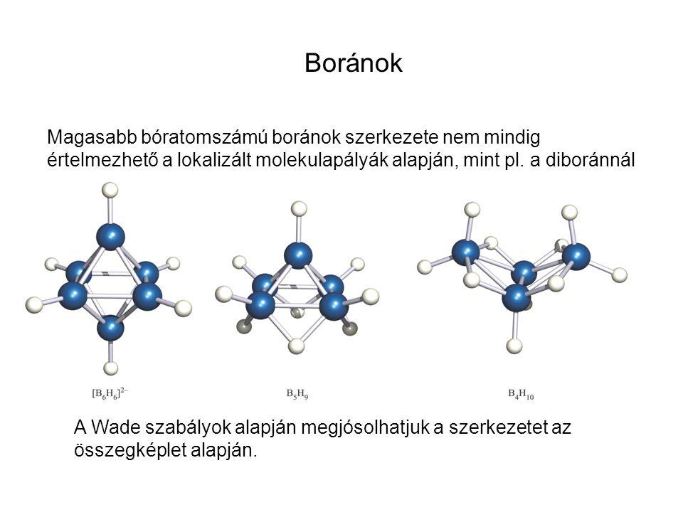 Magasabb bóratomszámú boránok szerkezete nem mindig értelmezhető a lokalizált molekulapályák alapján, mint pl. a diboránnál A Wade szabályok alapján m