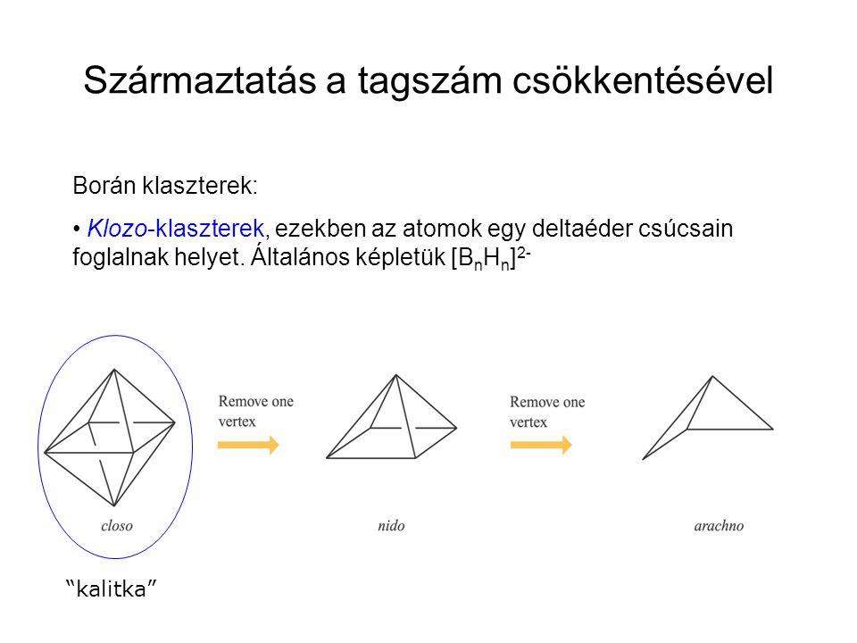 """Borán klaszterek: Klozo-klaszterek, ezekben az atomok egy deltaéder csúcsain foglalnak helyet. Általános képletük [B n H n ] 2- """"kalitka"""" Származtatás"""