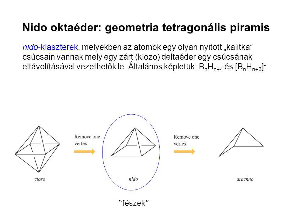 """nido-klaszterek, melyekben az atomok egy olyan nyitott """"kalitka"""" csúcsain vannak mely egy zárt (klozo) deltaéder egy csúcsának eltávolításával vezethe"""