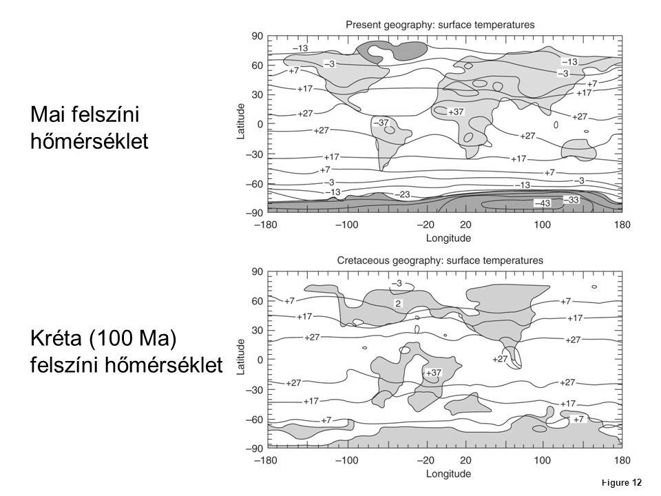 Figure 12 Mai felszíni hőmérséklet Kréta (100 Ma) felszíni hőmérséklet