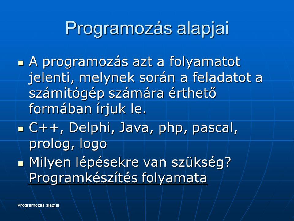 Programozás alapjai Programkészítés folyamata 1) SPECIFIKÁCIÓ A feladat pontos meghatározása Ez a feladat szöveges és formalizált, matematikai leírásán túl tartalmazza a megoldással szemben támasztott követelményeket, környezeti igényeket is.