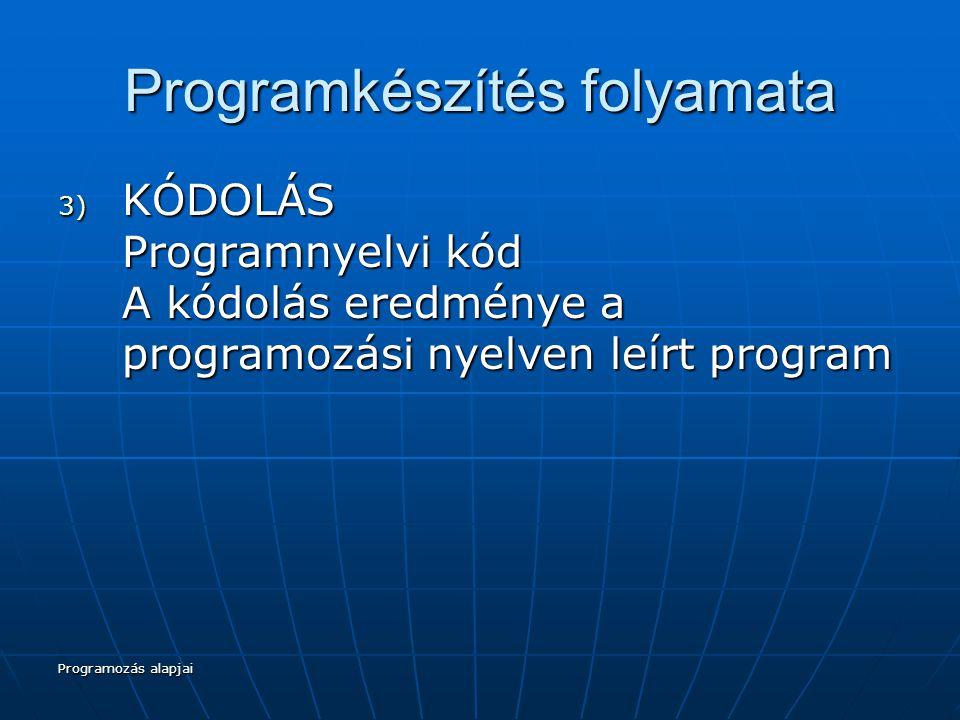 Programozás alapjai Programkészítés folyamata 4) TESZTELÉS A program első változatban általában sohasem hibátlan, a helyességről csak akkor beszélhetünk, ha meggyőződtünk róla.