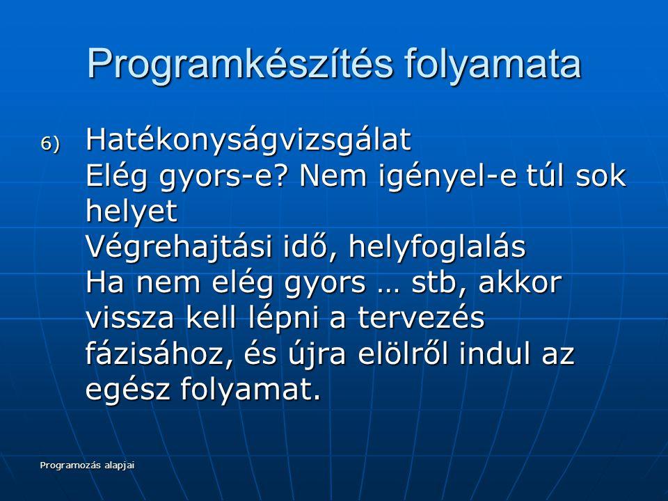 Programozás alapjai Programkészítés folyamata 6) Hatékonyságvizsgálat Elég gyors-e.