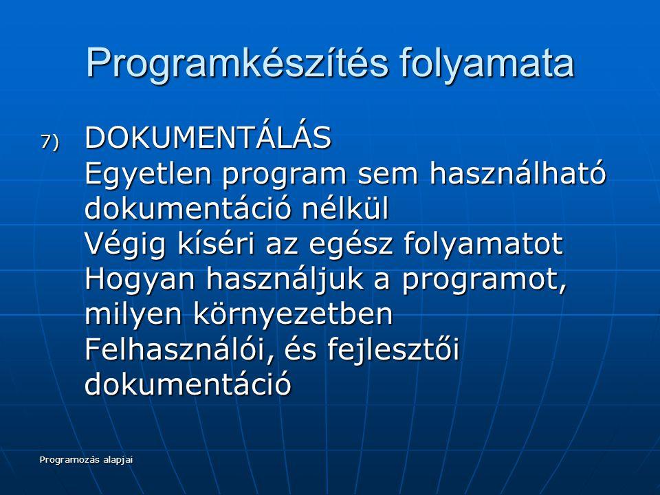 Programozás alapjai Programkészítés folyamata 7) DOKUMENTÁLÁS Egyetlen program sem használható dokumentáció nélkül Végig kíséri az egész folyamatot Hogyan használjuk a programot, milyen környezetben Felhasználói, és fejlesztői dokumentáció
