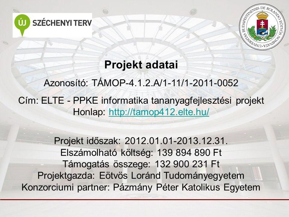 Projekt adatai Azonosító: TÁMOP-4.1.2.A/1-11/1-2011-0052 Cím: ELTE - PPKE informatika tananyagfejlesztési projekt Honlap: http://tamop412.elte.hu/http://tamop412.elte.hu/ Projekt időszak: 2012.01.01-2013.12.31.