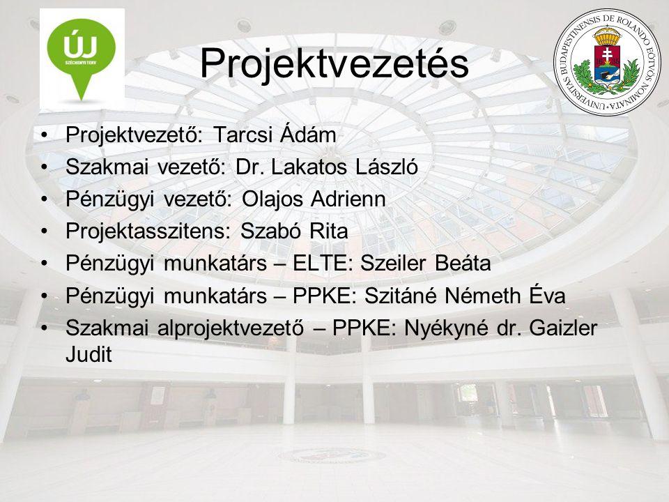 Projektvezetés Projektvezető: Tarcsi Ádám Szakmai vezető: Dr.