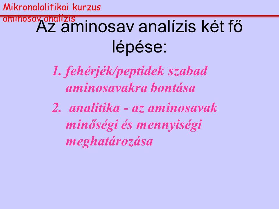 Aminosav analízis Mikronalalitikai kurzus aminosav analízis