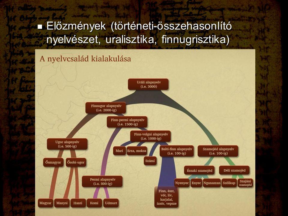 Előzmények (történeti-összehasonlító nyelvészet, uralisztika, finnugrisztika) Előzmények (történeti-összehasonlító nyelvészet, uralisztika, finnugrisz
