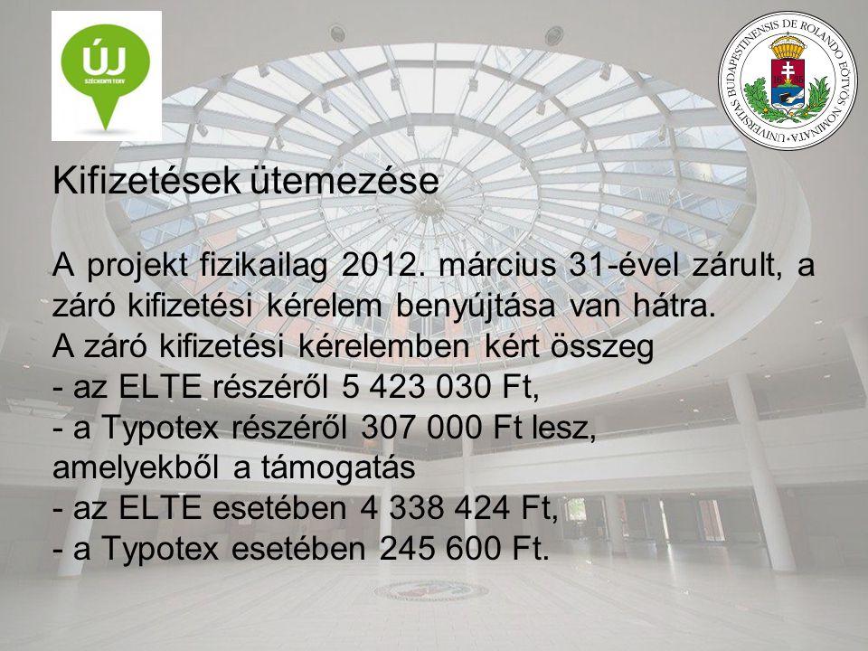 Kifizetések ütemezése A projekt fizikailag 2012. március 31-ével zárult, a záró kifizetési kérelem benyújtása van hátra. A záró kifizetési kérelemben