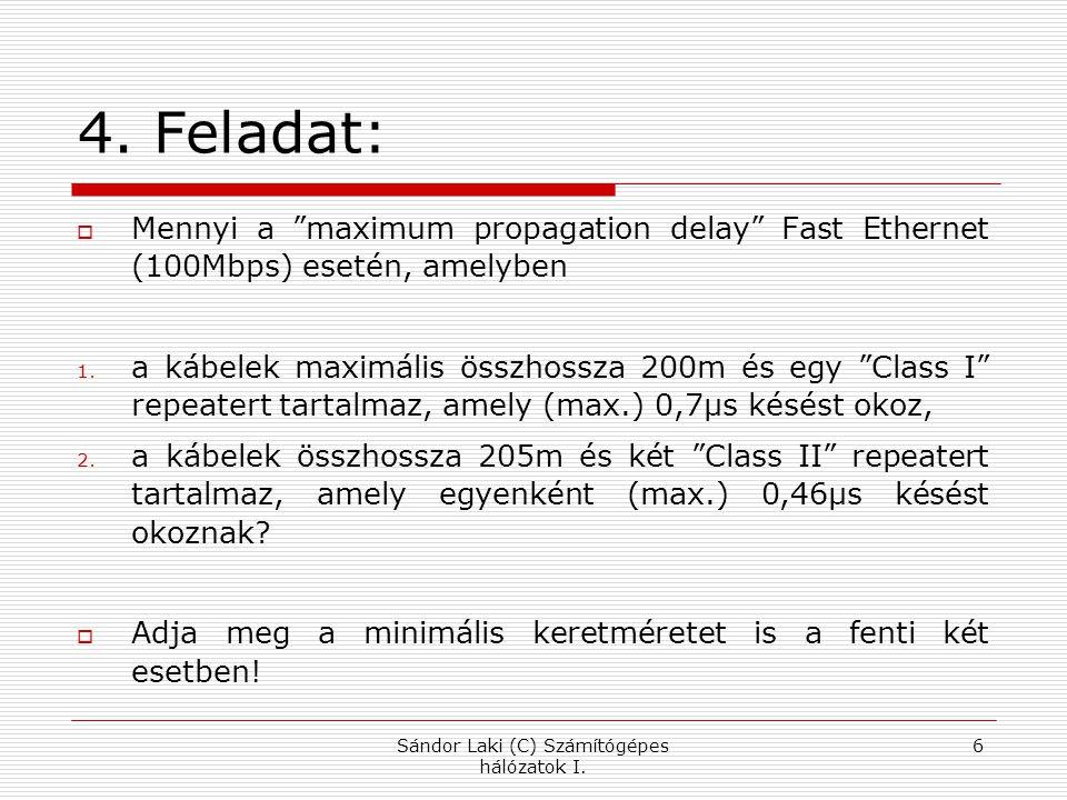 5. Feladat: Sándor Laki (C) Számítógépes hálózatok I. 7