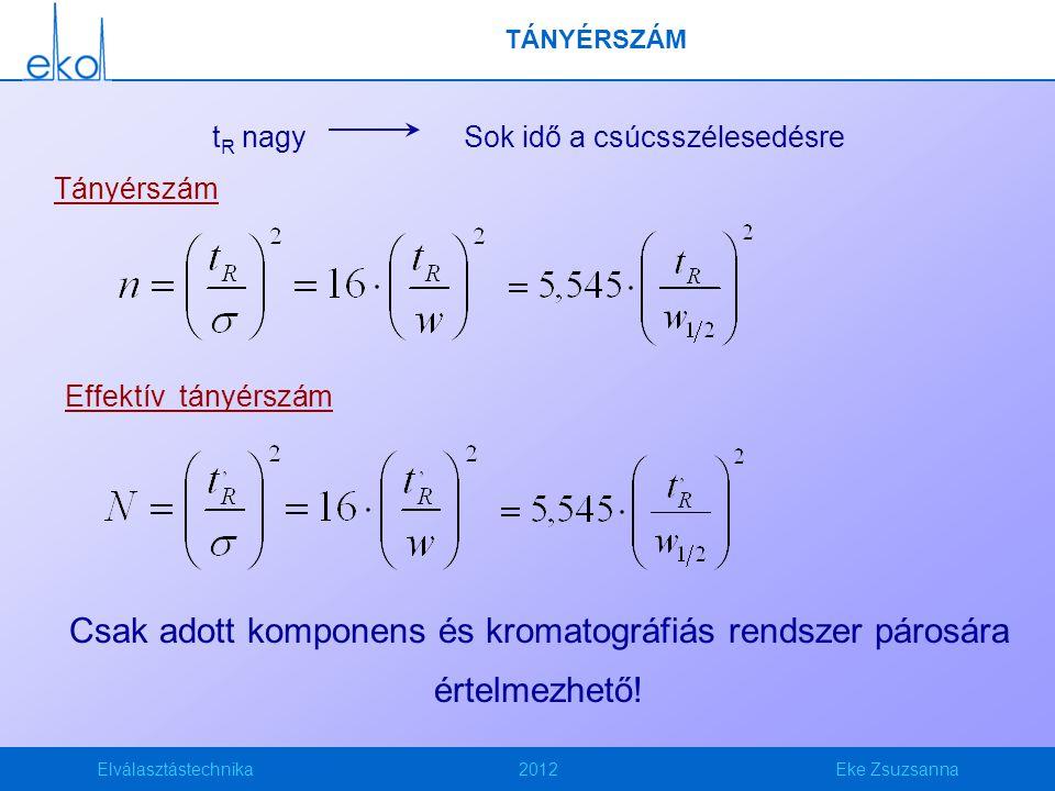 Elválasztástechnika2012Eke Zsuzsanna HEPT Elméleti tányérhossz azaz Height Equivalent to a Theoretical Plate HEPT: